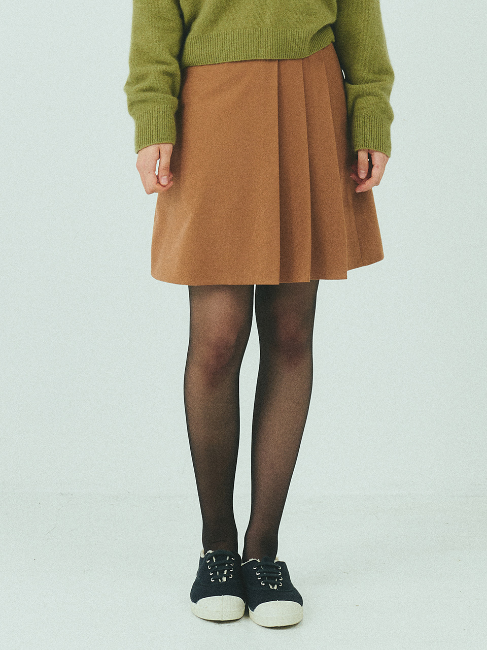 SET UP WOOL SKIRT_CARAMEL