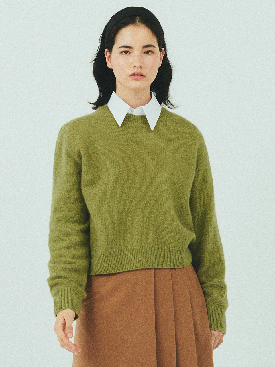 MERINO WOOL CROP KNIT_OLIVE
