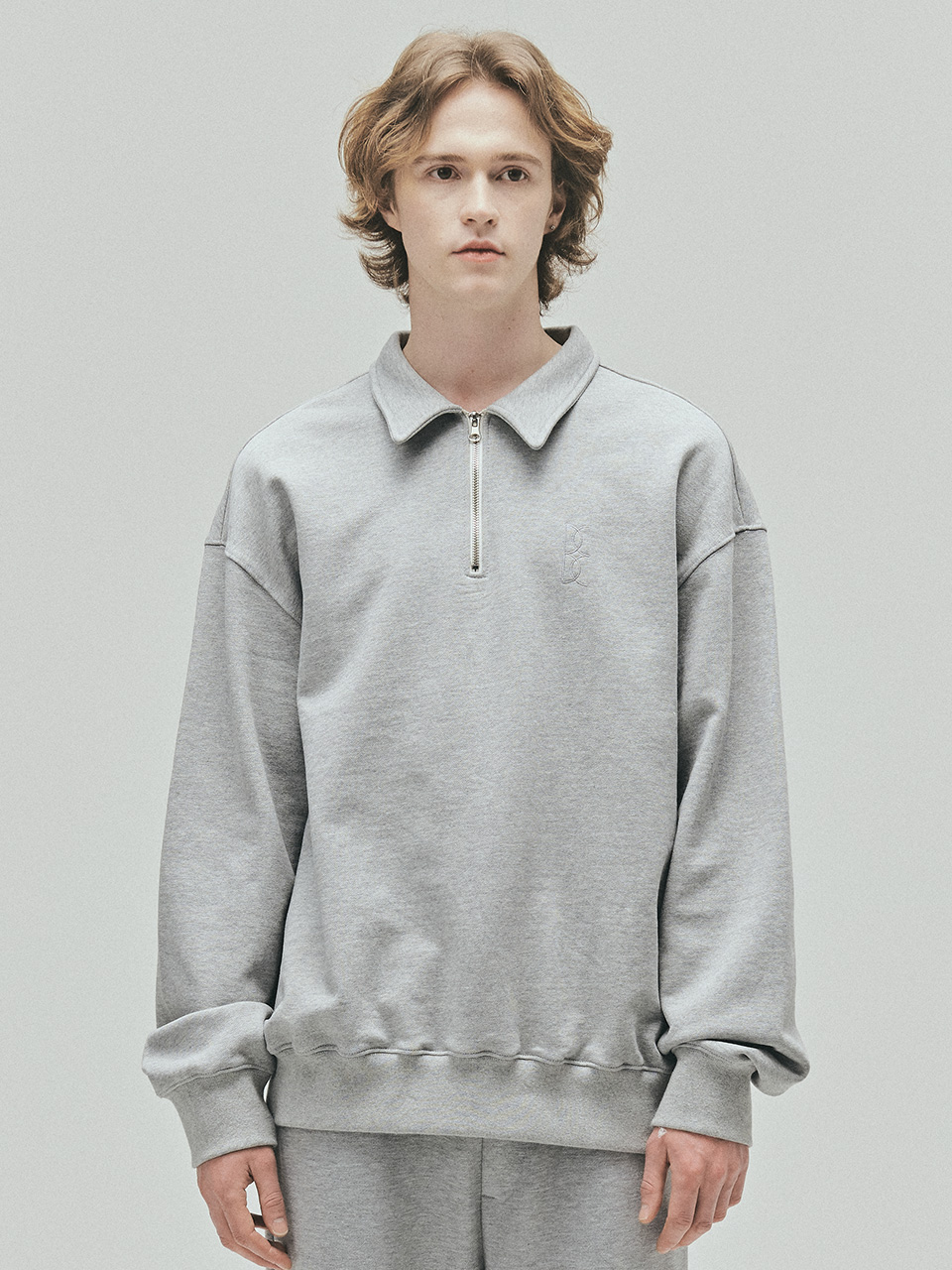 BENSIMON HALF ZIP UP OVERSIZED SWEATSHIRT - GREY