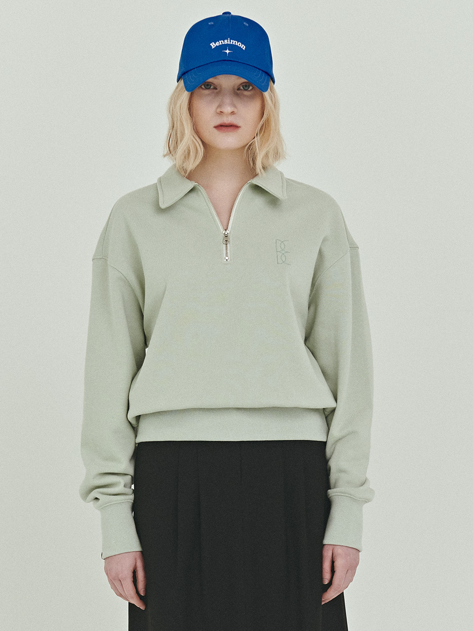 BENSIMON HALF ZIP UP CROP SWEATSHIRT - MINT
