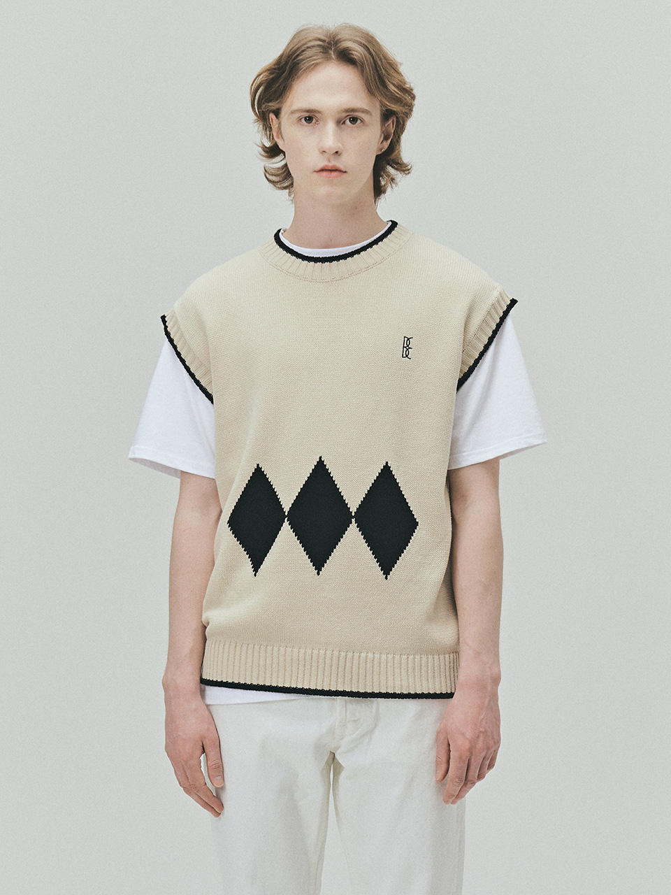 BENSIMON ARGYLE KNIT VEST (FOR MEN) - BEIGE