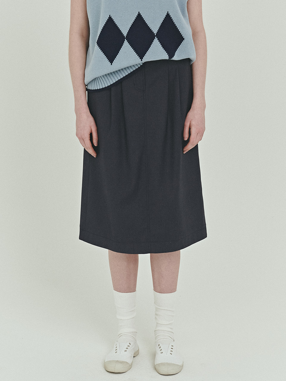 BENSIMON H-LINE TUCK POINT SKIRT - NAVY