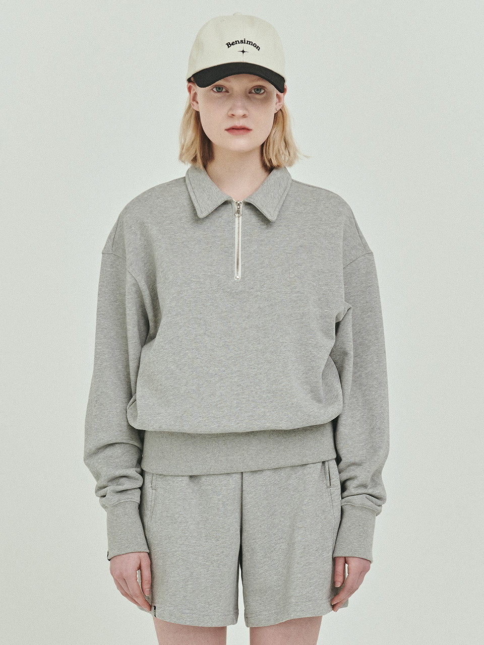 BENSIMON HALF ZIP UP CROP SWEATSHIRT - GREY
