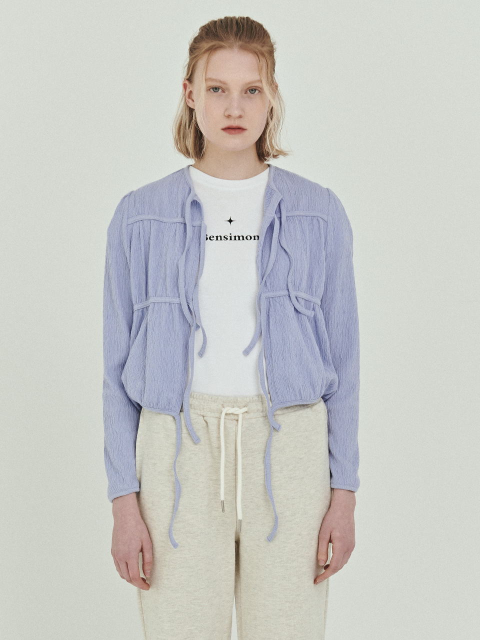 BENSIMON SHIRRING CARDIGAN - SKY BLUE