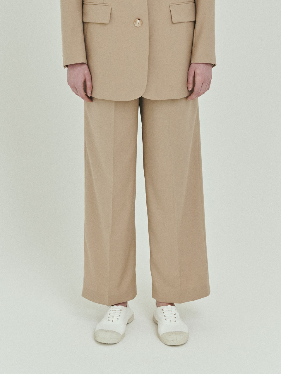 BENSIMON 3 TUCK SET UP WIDE PANTS - BEIGE