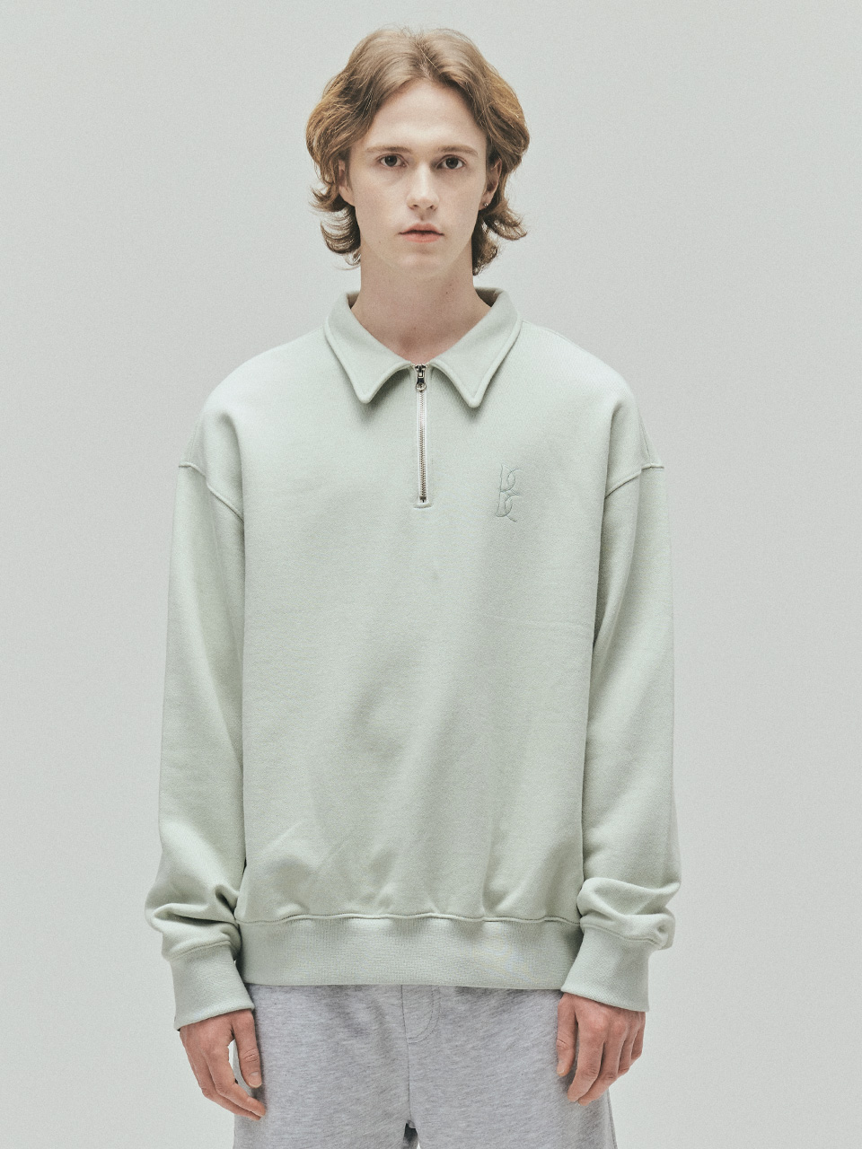 BENSIMON HALF ZIP UP OVERSIZED SWEATSHIRT - MINT