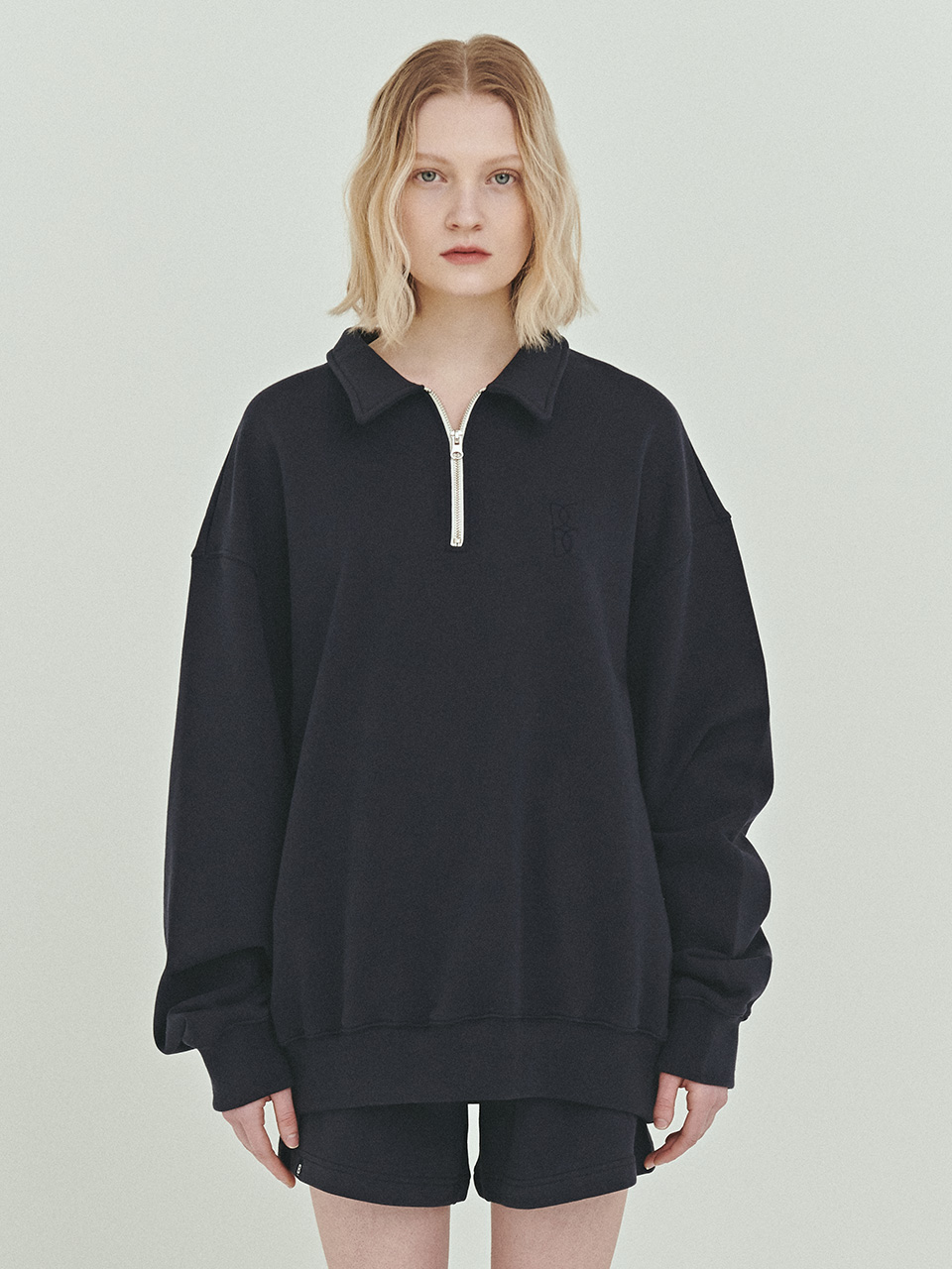 BENSIMON HALF ZIP UP CROP SWEATSHIRT - NAVY