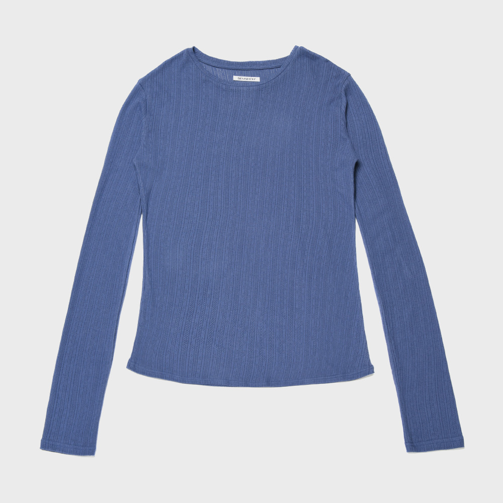 BENSIMON JACQUARD CREW NECK KNIT  - BLUE