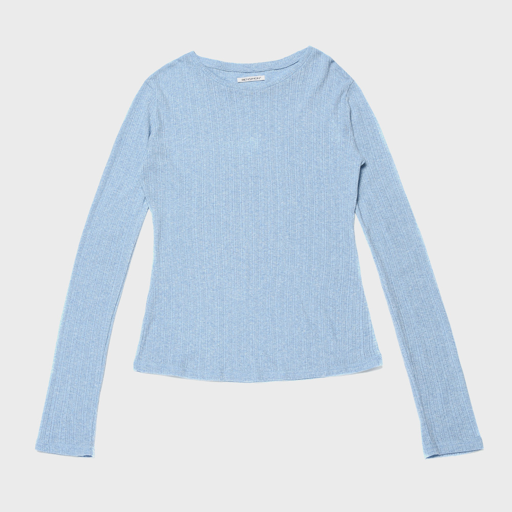 BENSIMON JACQUARD CREW NECK KNIT  - SKY BLUE