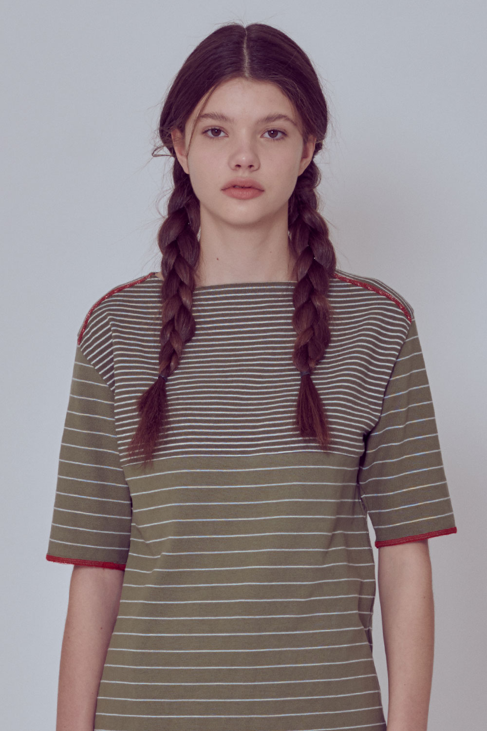 [벤시몽 X 비아플레인] Brush Stripe Short Sleeve_Khaki BS0STS216KH00F
