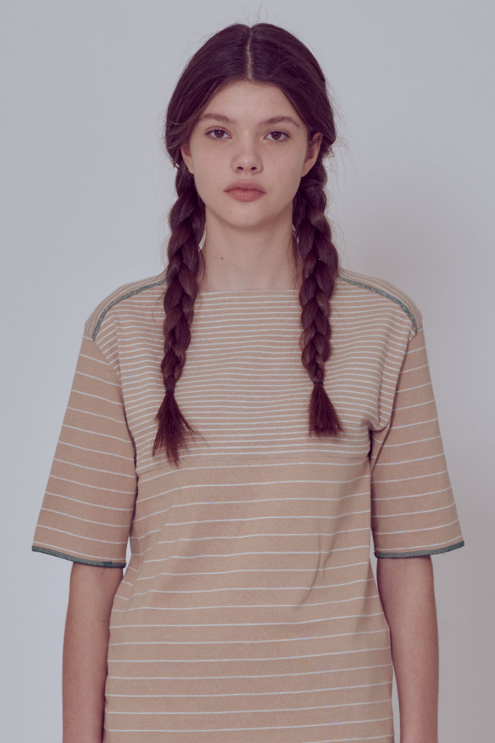 [벤시몽 X 비아플레인] Brush Stripe Short Sleeve_Beige BS0STS216BE00F