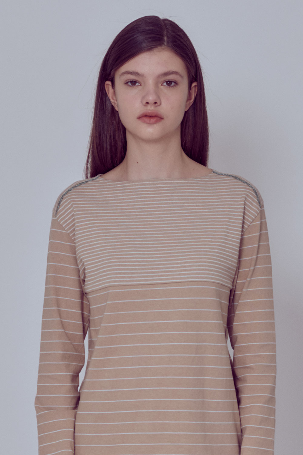 [벤시몽 X 비아플레인] Brush Stripe Long Sleeve_Beige BS0STL211BE00F