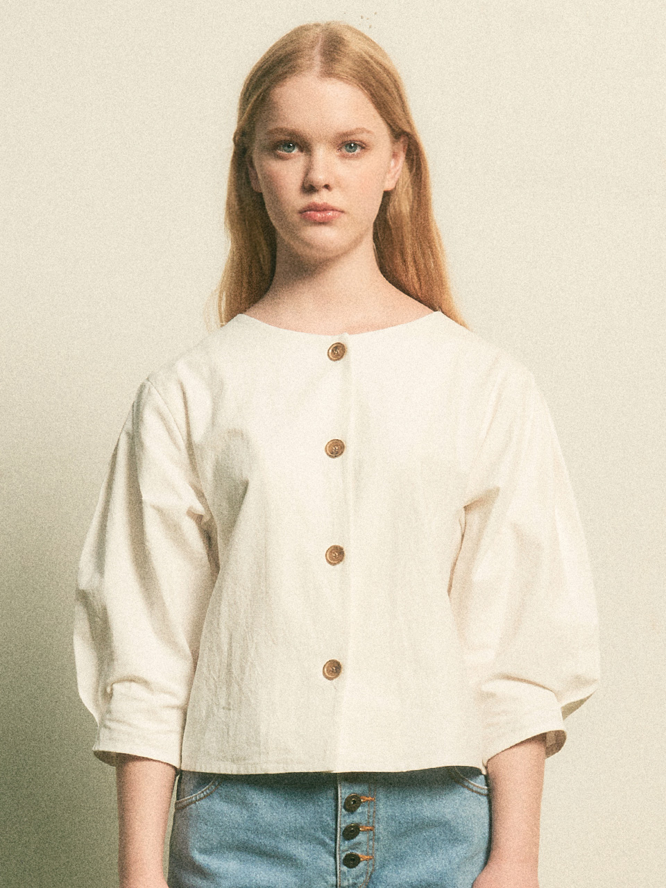 Button Point Balloon Blouse_White