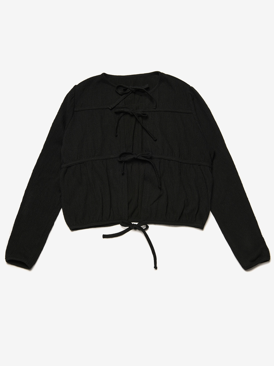 BENSIMON SHIRRING CARDIGAN - CARBON