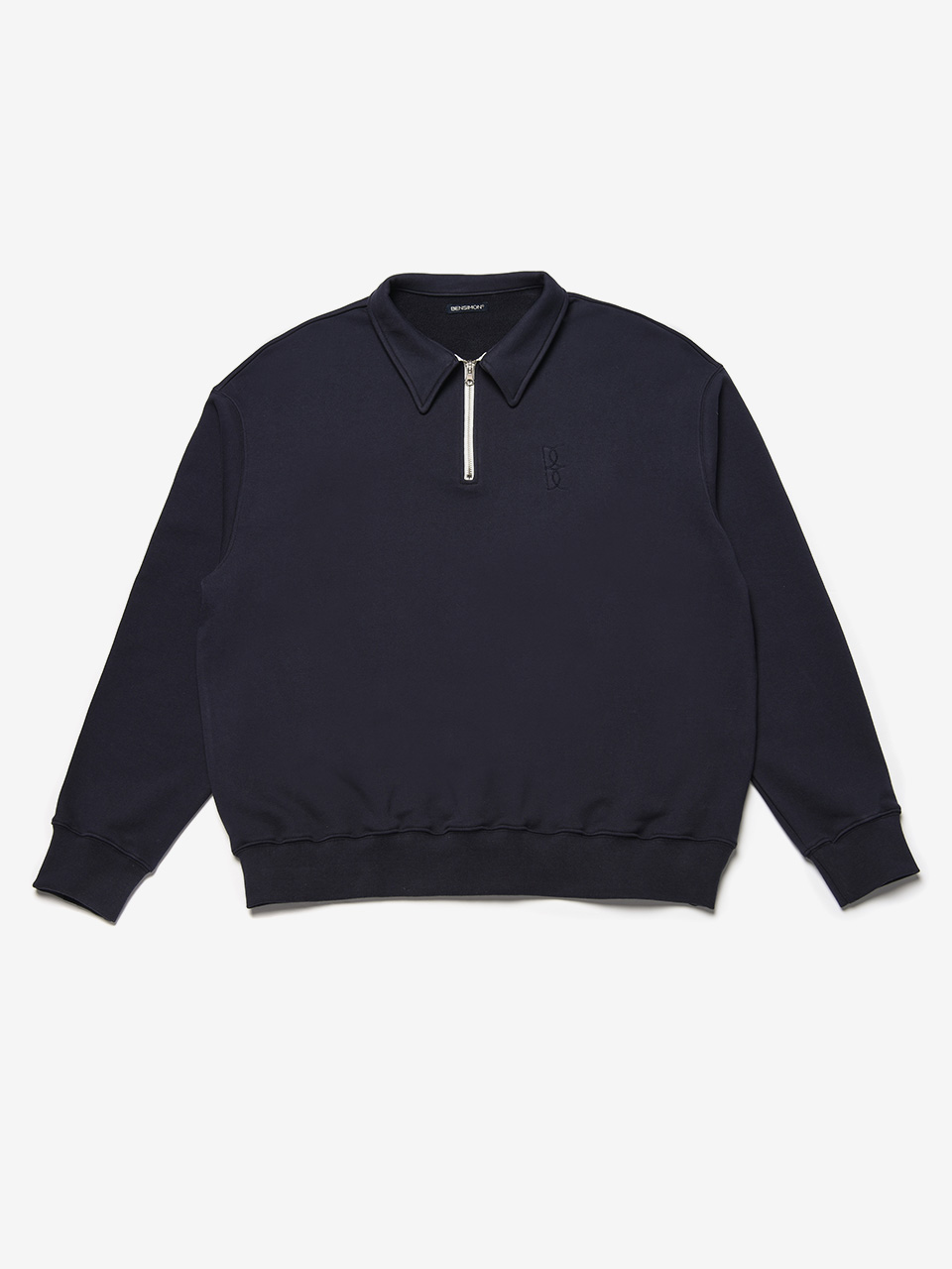 BENSIMON HALF ZIP UP OVERSIZED SWEATSHIRT - NAVY