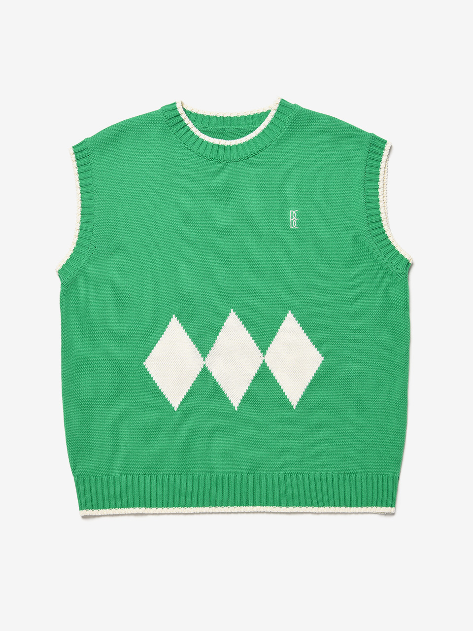 BENSIMON ARGYLE KNIT VEST (FOR MEN) - GREEN