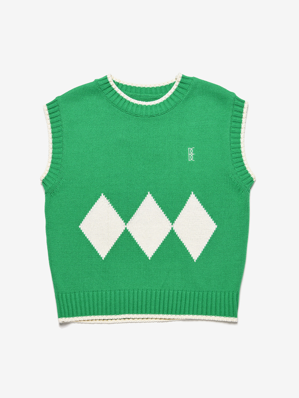 BENSIMON ARGYLE KNIT VEST (FOR WOMEN) - GREEN