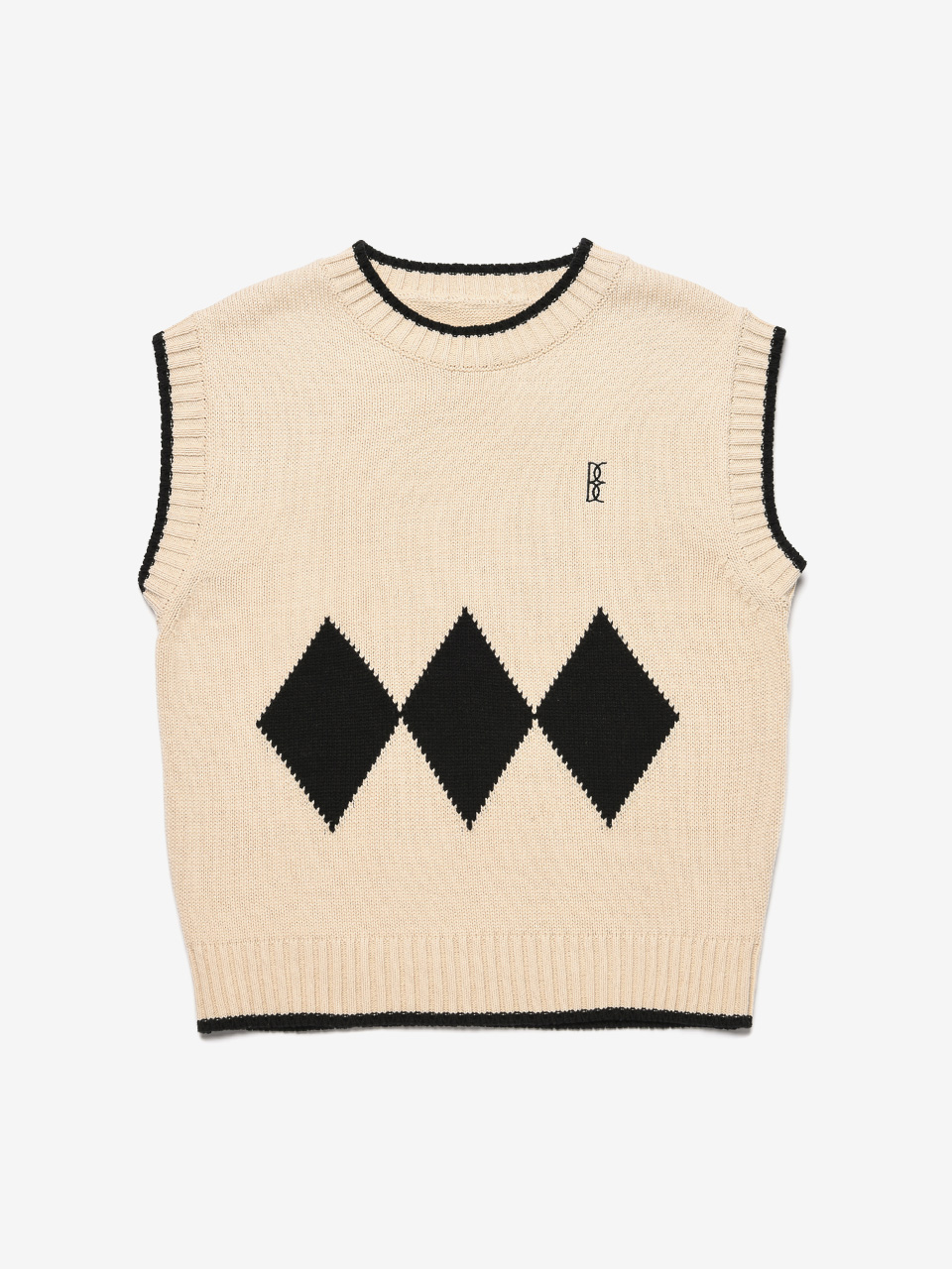 BENSIMON ARGYLE KNIT VEST (FOR WOMEN) - BEIGE