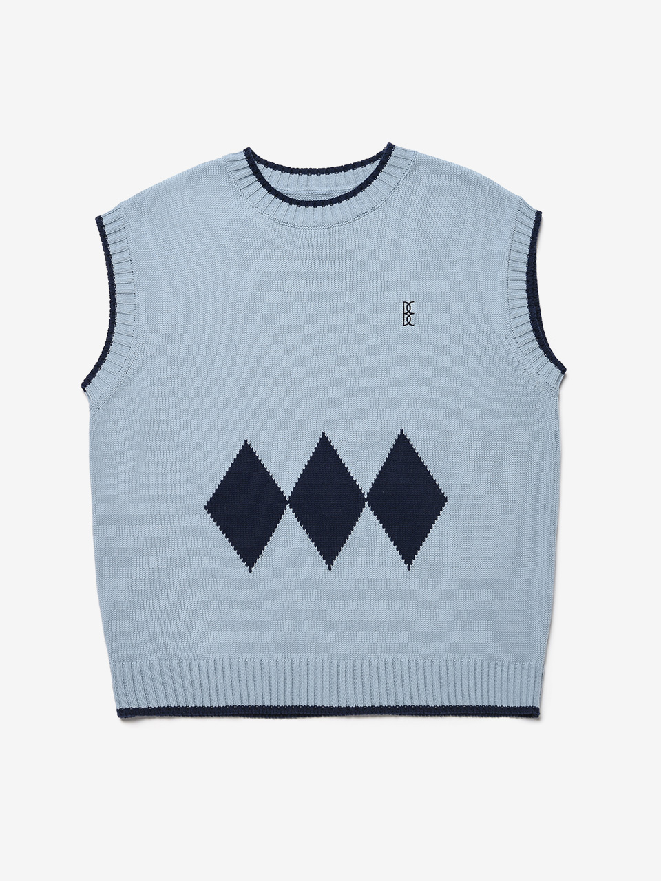 BENSIMON ARGYLE KNIT VEST (FOR MEN) - SKY BLUE