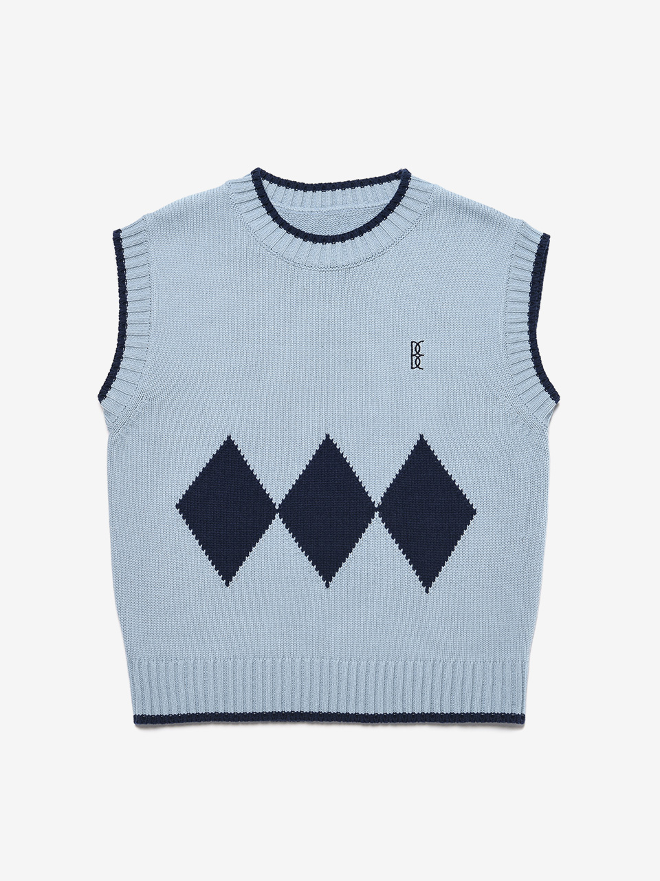 BENSIMON ARGYLE KNIT VEST (FOR WOMEN) - SKY BLUE